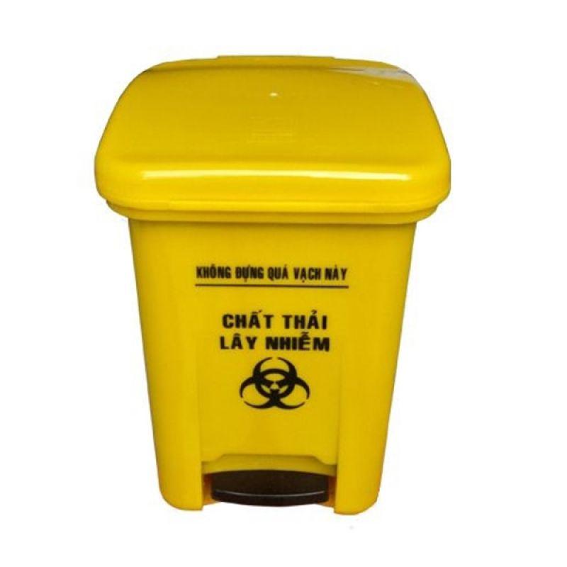 Thùng rác y tế 15 lít màu vàng đạp chân