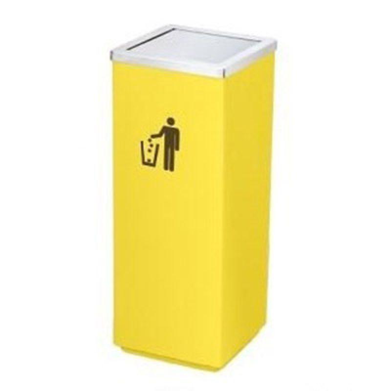Thùng đựng rác inox vàng vuông nắp bập bênh