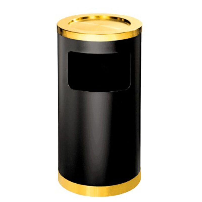 Thùng rác phun sơn đen gạt tàn inox vàng A35-H
