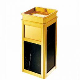 thùng rác inox mạ vàng đá hoa cương màu đen