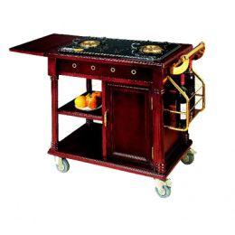Xe đẩy bàn bếp di động bằng gỗ