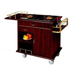 Xe đẩy bàn bếp gỗ viền inox vàng