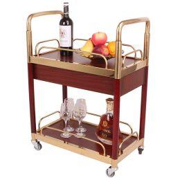Xe đẩy phục vụ rượu bằng gỗ 2 tầng