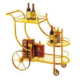Xe đẩy phục vụ rượu inox mạ vàng