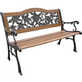 Ghế công viên bằng gỗ có tựa gang đúc