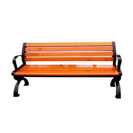 Ghế băng công viên có tựa bằng gỗ thiết kế bằng gỗ màu đỏ cam