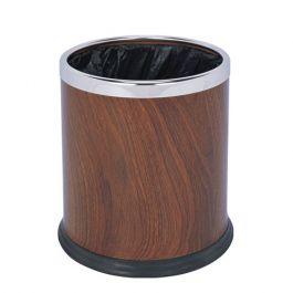 Thùng rác tròn văn phòng bọc da giả gỗ