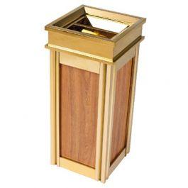 Thùng rác inox mạ vàng thân bọc da giả vân gỗ có gạt tàn