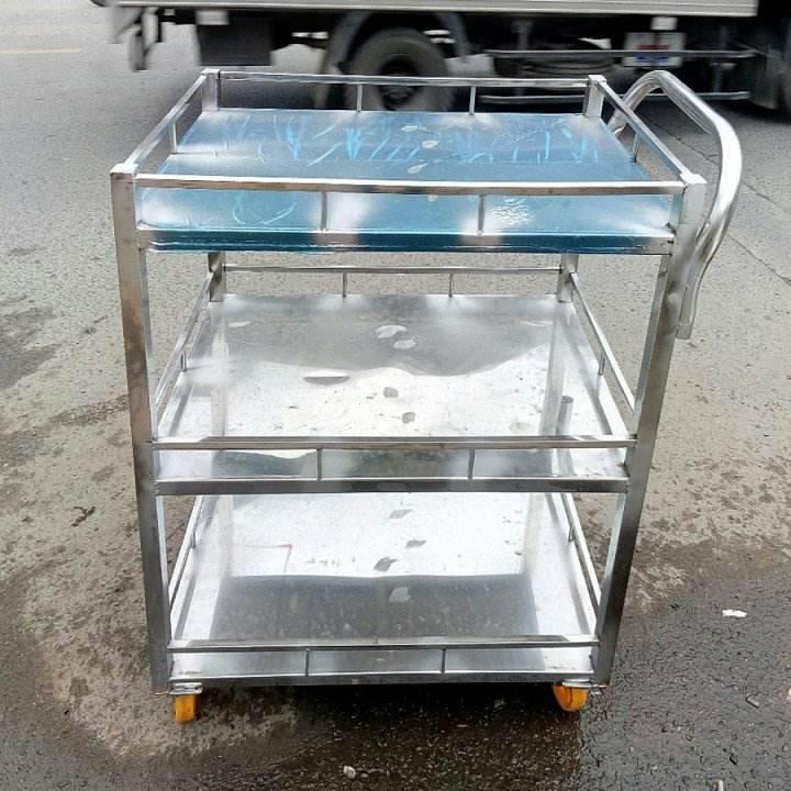 xe đẩy thức ăn 3 tầng bằng inox