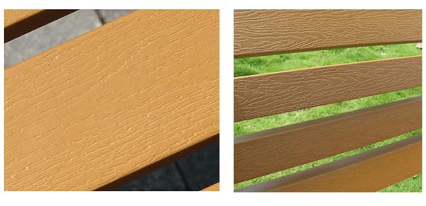 Ghế băng công viên khách sạn làm từ gỗ thịt, bắt bằng lục giác inox chắc chắn