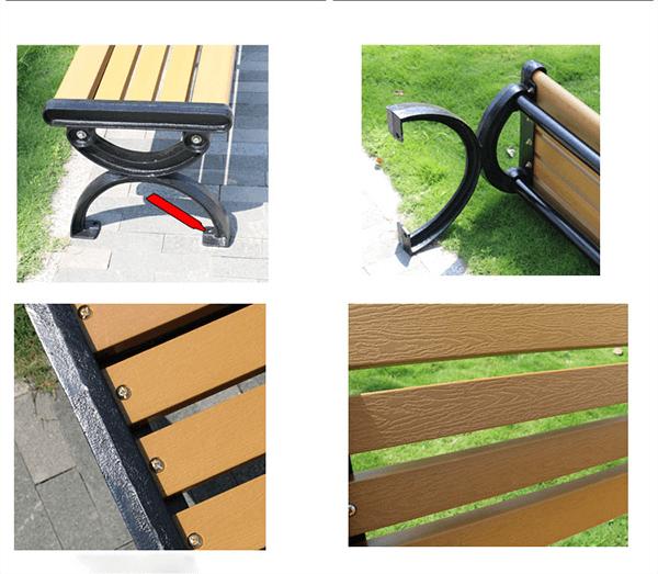 Ghế băng công viên Composite có chất liệu cao cấp: khung gang đúc nguyên khối, nan làm từ gỗ nhựa composite