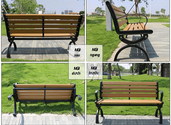 Ghế công viên bằng gỗ không tựa thiết kế chắc chắn, đẹp từ mọi góc nhìn