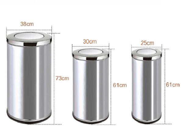 Thùng rác inox với nắp lật rất hợp dùng cho khu vực thang máy