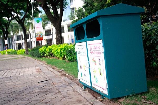 Thùng rác đôi bằng sắt bền đẹp cho công viên