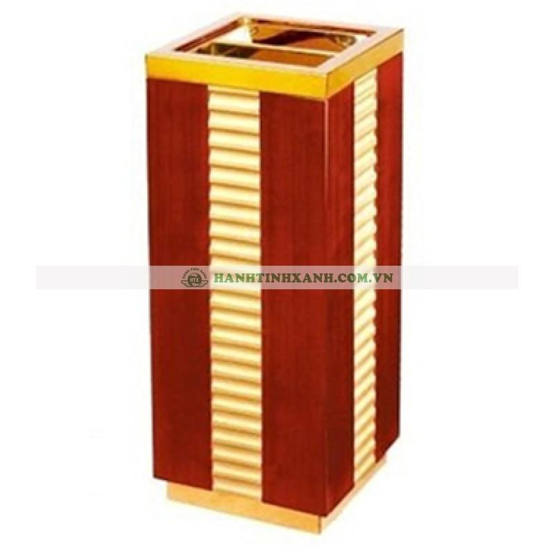Thùng rác gỗ có gạt tàn thuốc cao cấp