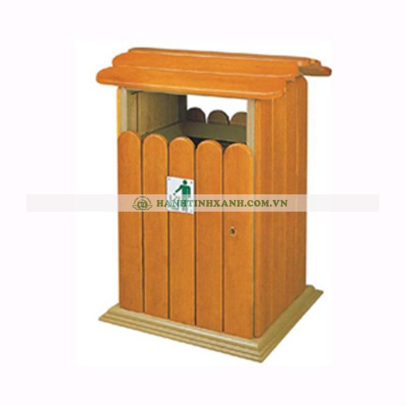 Thùng rác gỗ hình mái nhà