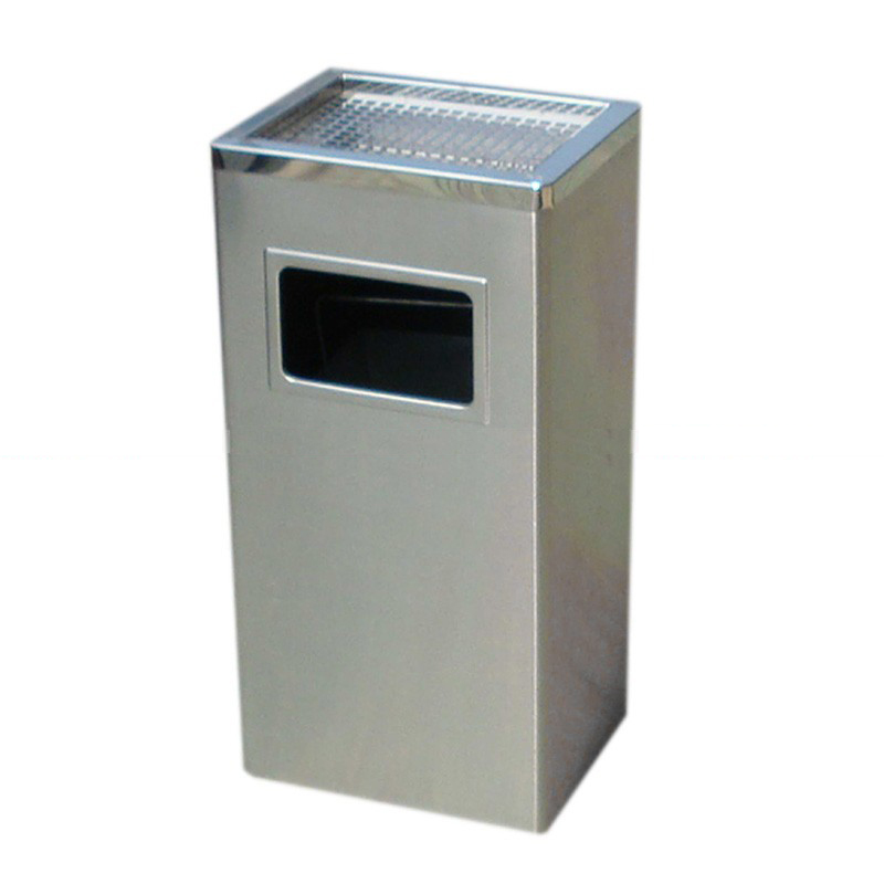 thùng rác inox gạt tàn hình vuông