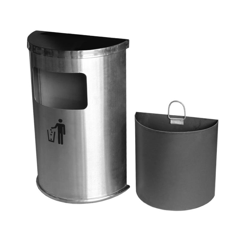 thùng rác inox bán nguyệt trắng