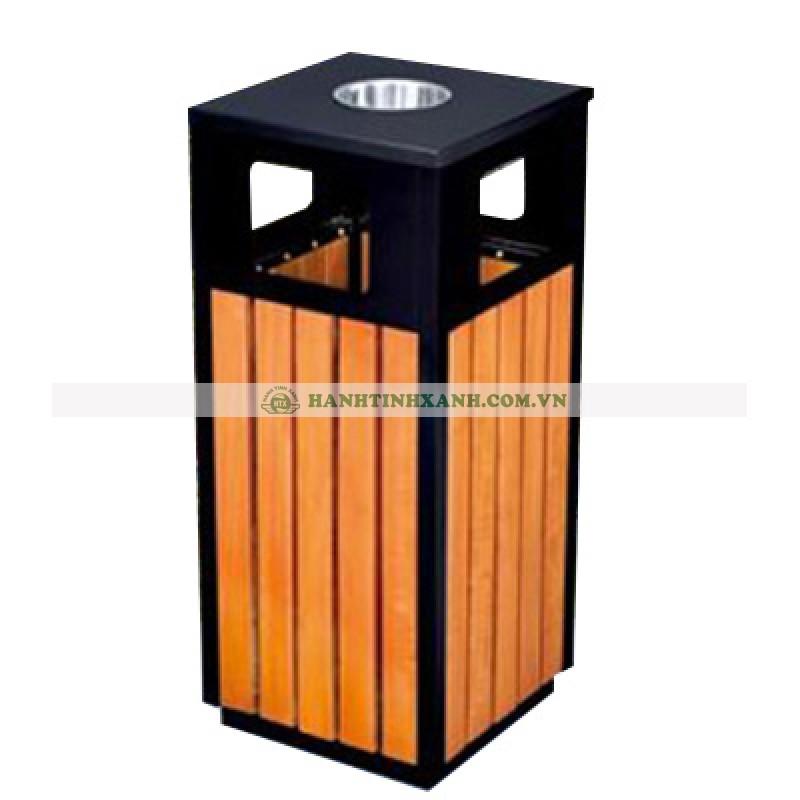 Thùng rác gỗ ngoài trời có gạt tàn thuốc lá