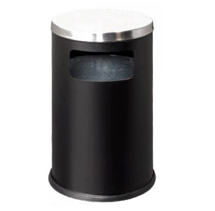 Thùng rác thép phun sơn đen nắp bằng