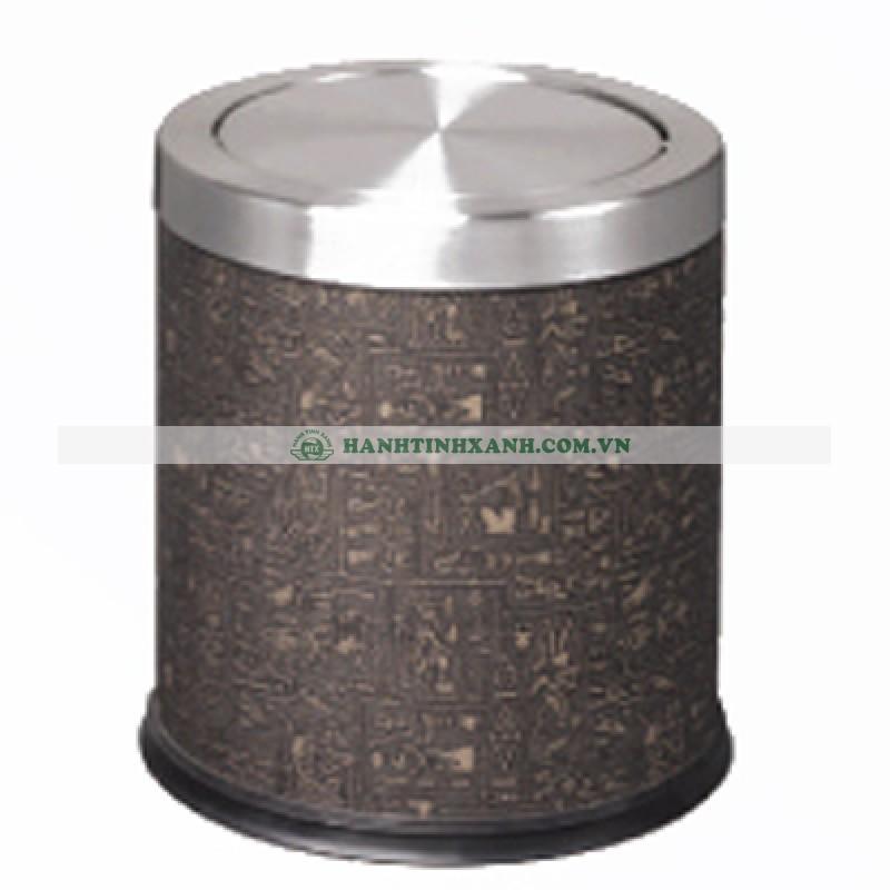 thùng rác inox nắp lật bọc da A36-H