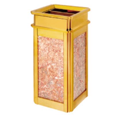 Thùng rác inox mạ vàng đá đỏ A1
