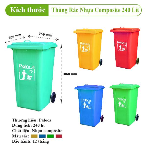Báo giá Thùng rác nhựa 240 lít
