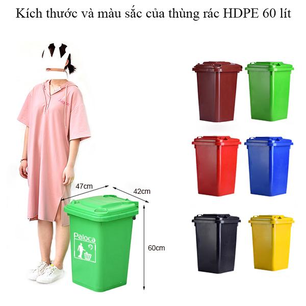 Thùng rác nhựa 60l thương hiệu Paloca