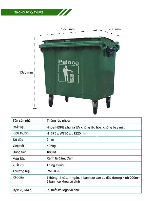 thùng rác nhựa 660 lít giá