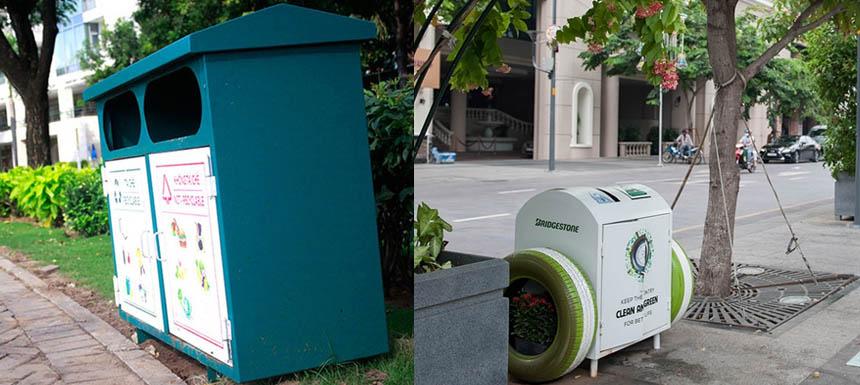 Nên đặt loại thùng rác nào cho hợp cảnh quan