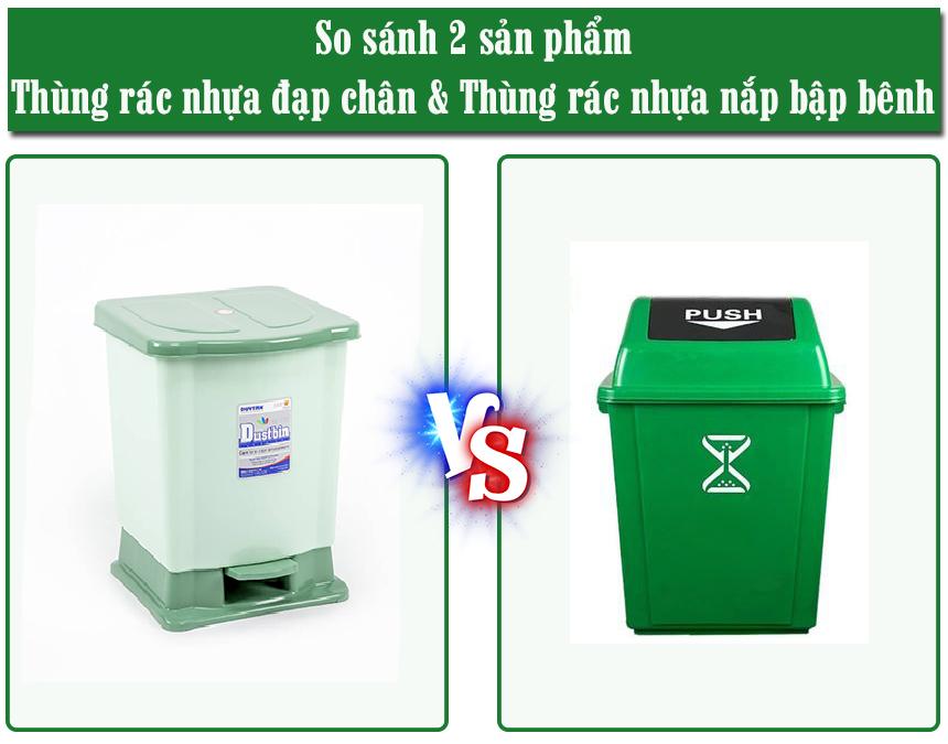 So sánh thùng rác nhựađạp chân và thùng rác nhựanắp bập bênh