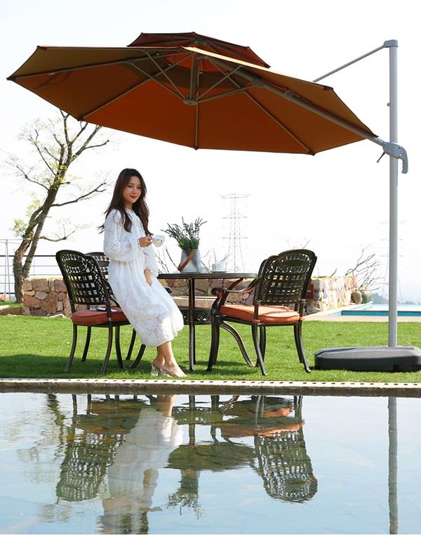 Ô lệch tâm được sử dụng nhiều tại các quán cafe, hồ bơi, Resort,...