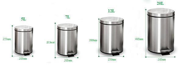 Kích thước thùng rác đạp chân