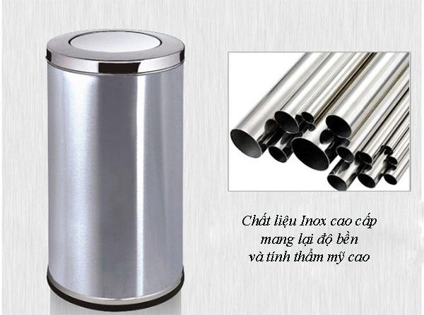 Chất liệu Inox 201 siêu bền chế tạo nên thùng rác