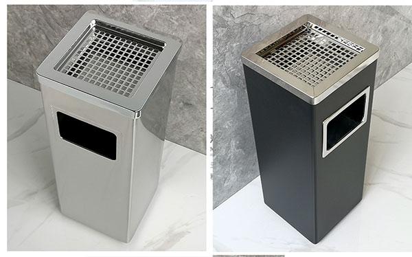 Công ty Hành Tinh Xanh là đơn vị chuyên bán và cung cấp các loại thùng rác inox. Trong đó, thùng rác inox vuông có gạt tàn là dòng sản phẩm được rất nhiều người yêu thích. Tìm hiểu ngay những đặc tính của mẫu thùng rác gạt tàn thuốc này ngay sau đây.  Thùng rác vuông inox đẹp màu sắc sáng bóng  Thông tin về thùng rác inox vuông có gạt tàn Thông số kỹ thuậtthùng rác inox gạt tàn  - Xuất xứ: Hàng nhập khẩu  - Kiểu dáng: Thùng rác inox vuông  - Kích thước: L240 x W240 x H620mm  - Chấtliệu: Inox không gỉ  - Nắp có gạt tàn thuốc lá  - Bảo hành: 12 tháng     Kích thước thùng rác Inox vuông   Đặc điểm nổi bật của thùng rác vuông inox  - Thùng rác hình vuông kiểu dáng chắc chắn, vững chãi mang đến độ bền tối ưu.  - Kết cấu thùng rác gồm 2 phần: Vỏ thùng và thùng chứa rác bên trong. Vỏ thùng làm bằng Inox không gỉ chống trầy xước tốt. Thùng đựng rác bên trong bằng tôn hoa đã được hàn kín, khít không rò rỉ nước thải ra ngoài.  - Khay đựng gạt tàn có kèm theo lưới giúp chống xả rác trên gạt tàn tối ưu. Thiết kế khay đựng và lưới có thể tháo rời, thuận tiện cho việc vệ sinh.  - Cửa xả rác phía trước thân thùng thuận tiện cho việc xả rác  Kết cấu thùng rác gạt tàn thuốc   - Thùng rác inox có gạt tàn được sử dụng tại các khu cho phép hút thuốc, dùng tại các tiền sảnh, cửa ra thang máy, cầu thang bộ. Sản phẩm có thể được dùng tại các khu vui chơi ,khu công cộng, khu nhà ở, trung tâm thương mại, hành lang văn phòng...     Thùng rác inox vuông được sử dụng nhiều tại các tòa nhà  Hành Tinh Xanh là đơn vị phân phối, bán thùng rác uy tín trên thị trường. Sản phẩm của Hành Tinh Xanh vô cùng đa dạng: thùng rác inox có gạt tàn thuốc lá, thùng rác đá hoa cương, thùng rác nhựa, thùng rác công cộng, xe thu gom rác... Để biết đượcthùng rác inox vuông giá bao nhiêu hay bất cứ giá của thùng rác loại nào, hãy liên hệ với chúng tôi theo số Hotline bạn nhé!        Xem thêm video thùng rác inox hình chữ nhât có gạt tàn: