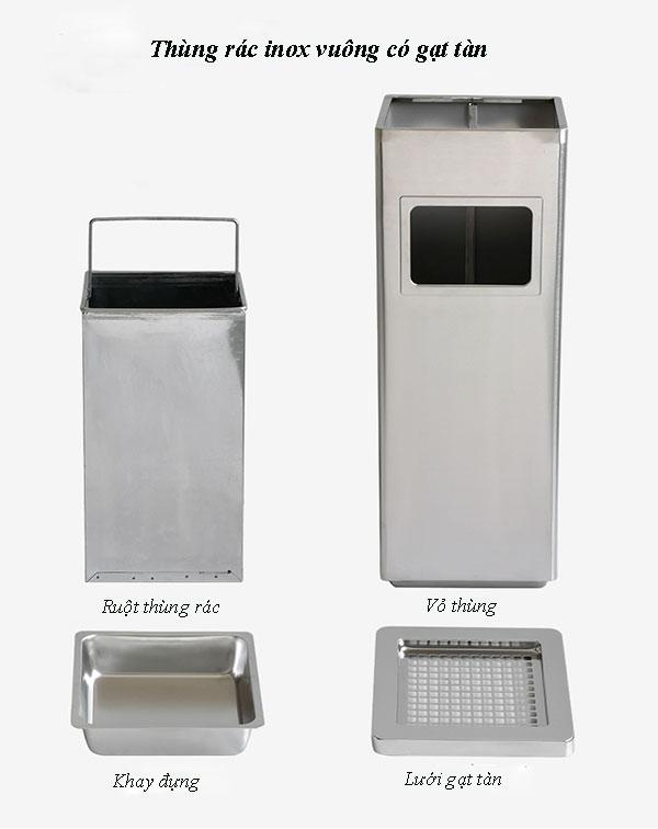 Kết cấu thùng rác gạt tàn thuốc
