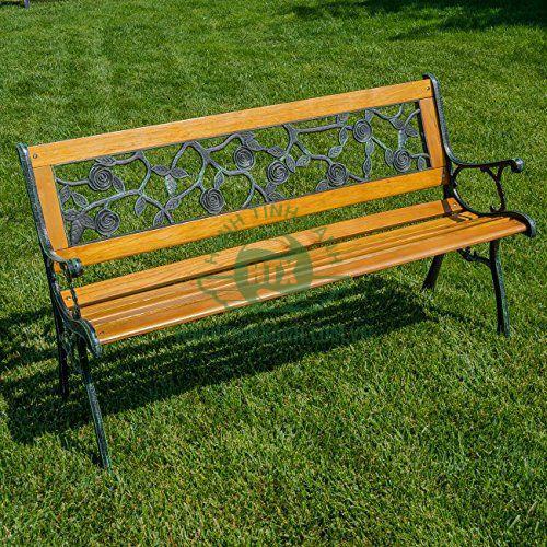 Ghế công viên gang đúc khung, tựa ngồi hoa hồng xanh rêu
