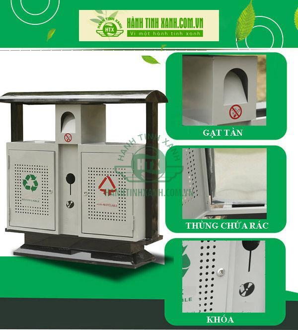 Mẫu thùng rác công cộng 2 ngăn tiện ích