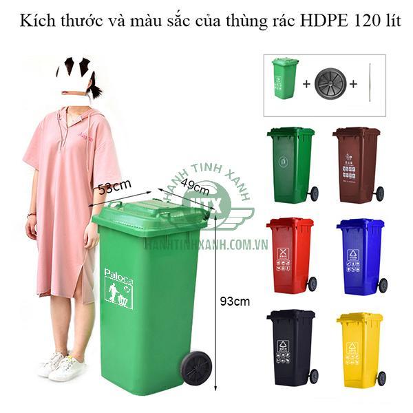 Thùng rác nhựa HDPE 120l thương hiệu Paloca