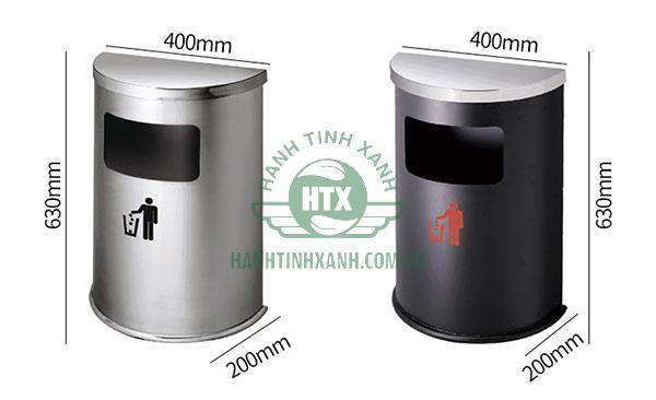 Kích thước thùng rác inox hình bán nguyệt