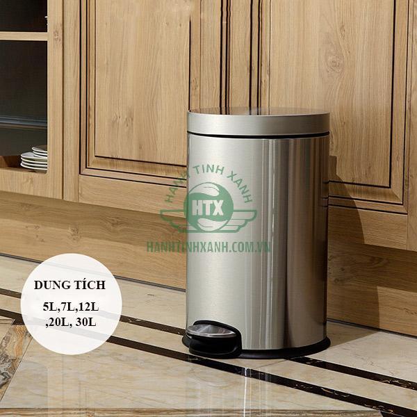 Mẫu thùng rác Inox đạp chân cao cấp