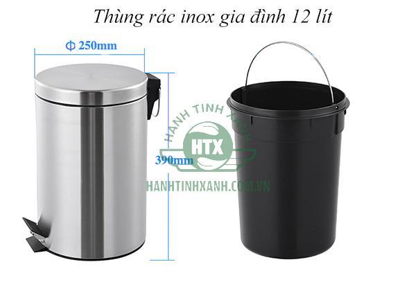 Thùng rác inox gia đình 12 lít