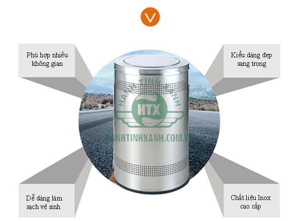 Sở hữu nhiều ưu điểm, mẫu thùng rác inox nắp bập bênh rất được tin dùng