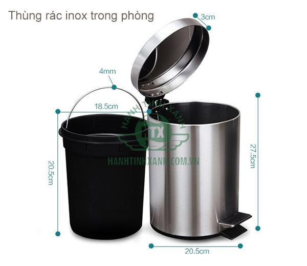Thùng rác inox dùng trong phòng
