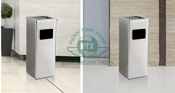 Thùng rác inox vuông được sử dụng nhiều tại các tòa nhà