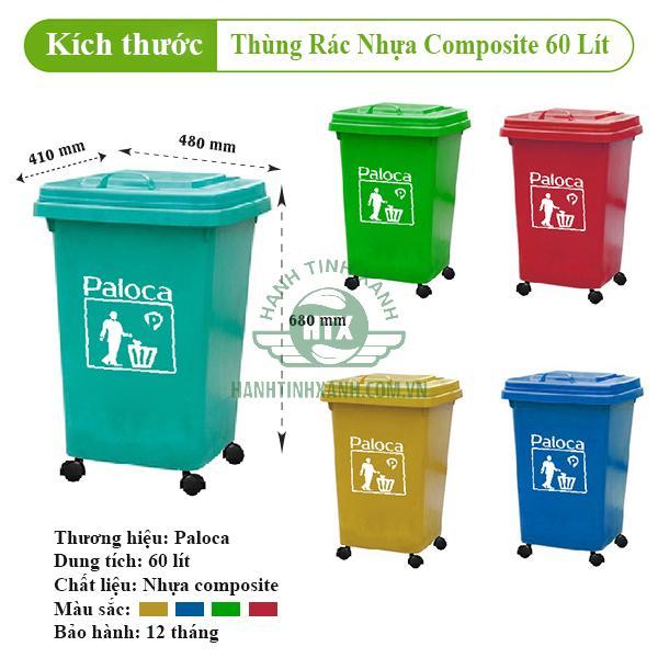 Thùng rác nhựa composite 60l