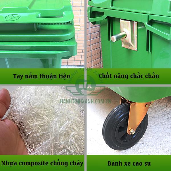 Thùng rác composite 660 lít thương hiệu Paloca