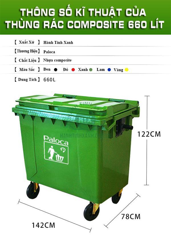 Thùng rác nhựa composite 660l thương hiệu Paloca