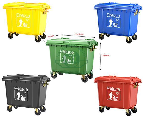 Thùng rác nhựa HDPE 660 lít chính hãng Paloca