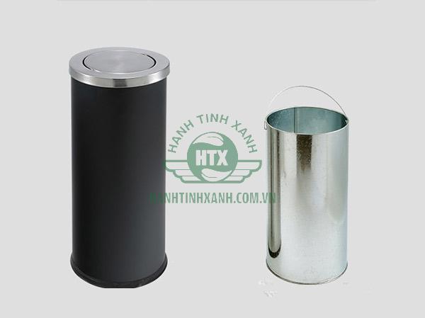 Thùng rác kết cấu gồm 2 phần: Thân thùng và sọt đựng rác tôn hoa